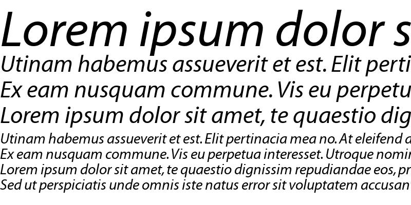 Sample of AdobeCorporateIDMyriad RomanItalic