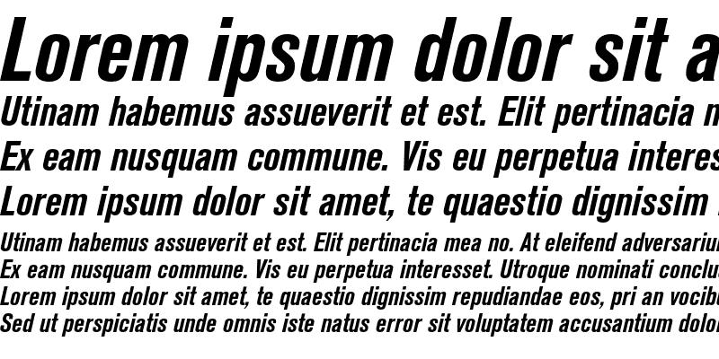 Sample of Akzidenz-Grotesk BQ Condensed Bold Italic