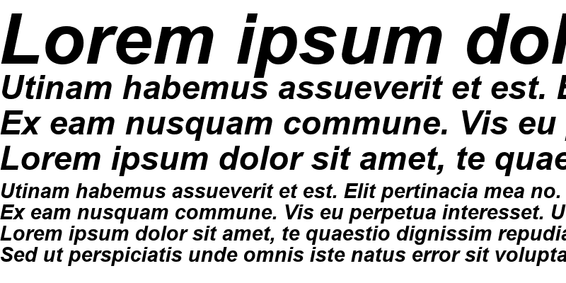 Sample of Arial Greek Bold Inclined