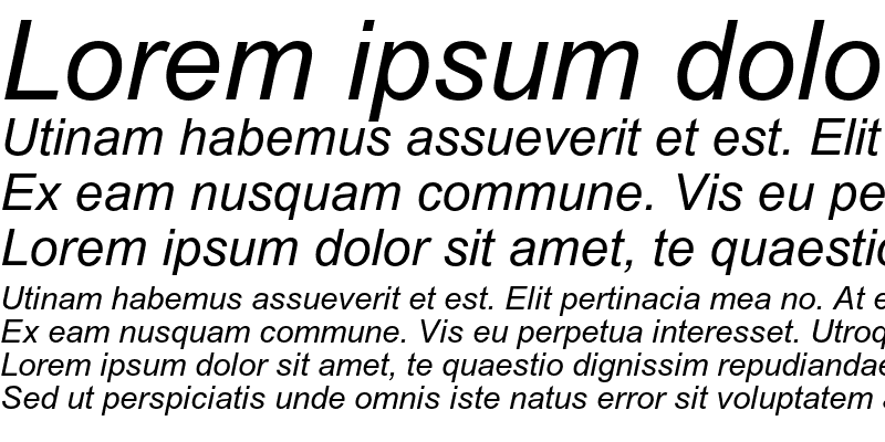 Sample of Arial MT Italic