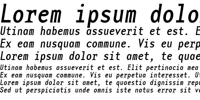 Sample of BaseMonoNarrowRegItalic Italic