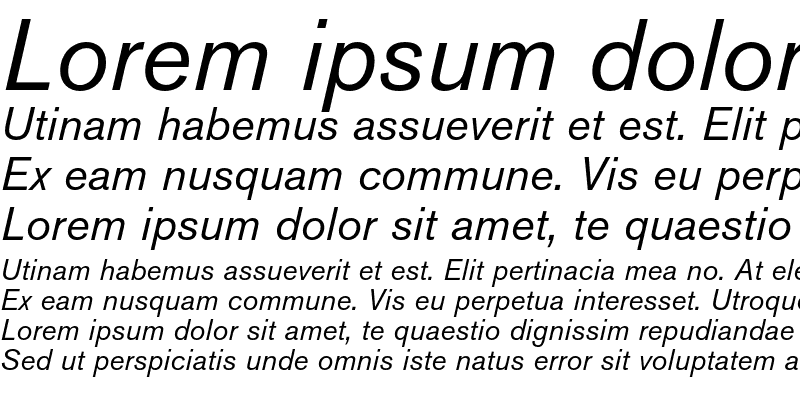 Sample of Berthold Akzidenz Grotesk Italic
