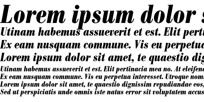 Sample of Bodoni BE Condensed Bold Italic