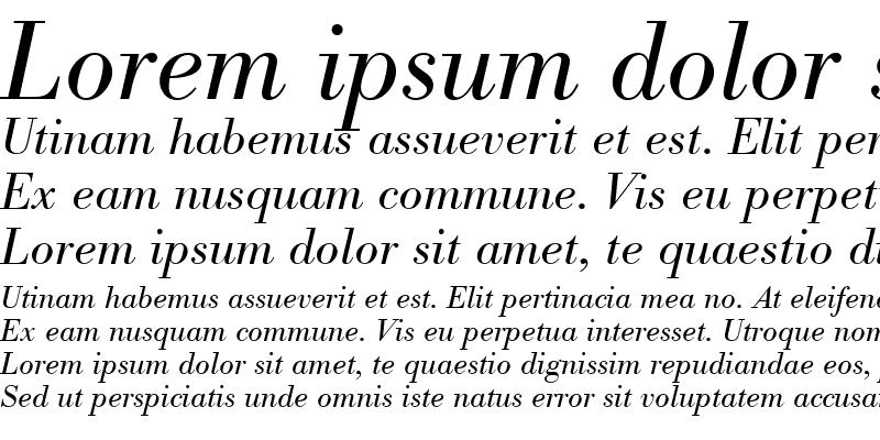 Sample of Bodoni BE Italic