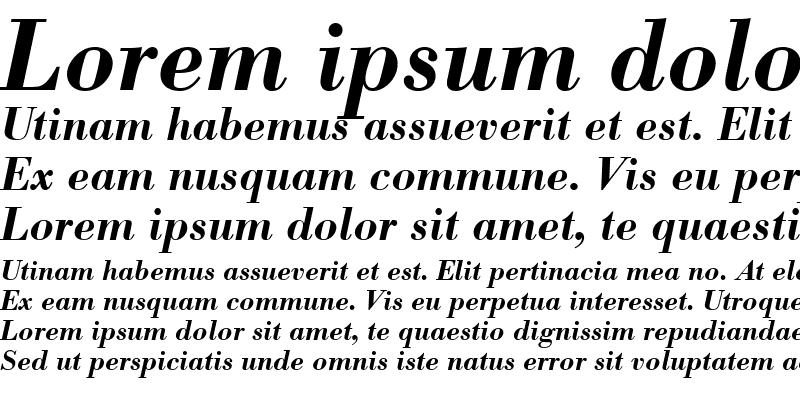 Sample of Bodoni BE ItalicBold