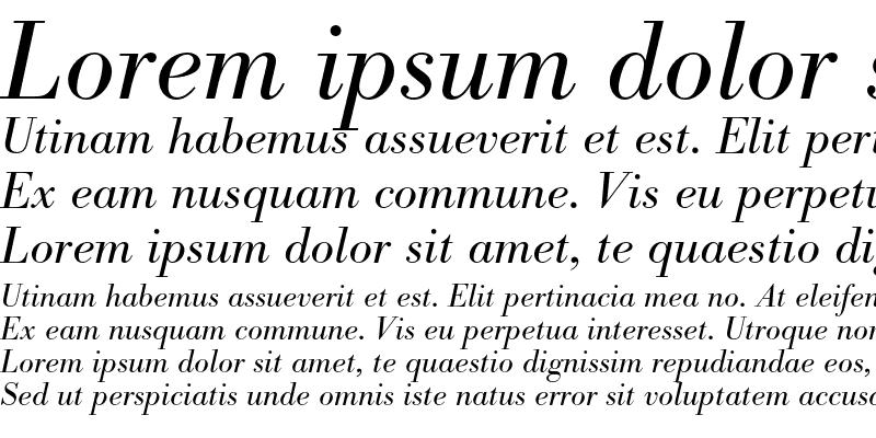 Sample of Bodoni BE Light Italic OsF