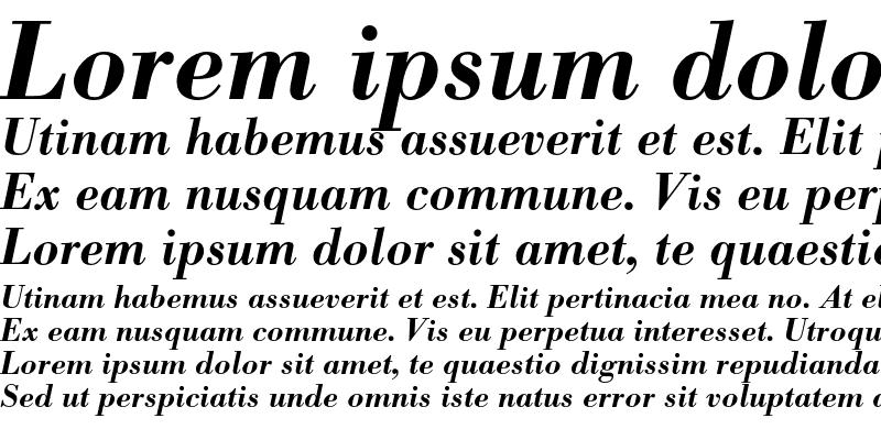 Sample of Bodoni BE Medium Italic OsF
