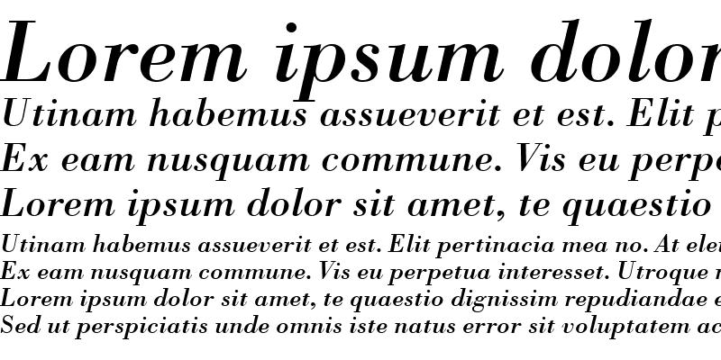 Sample of Bodoni BT Italic