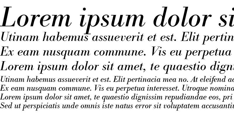 Sample of BodoniAntT Italic