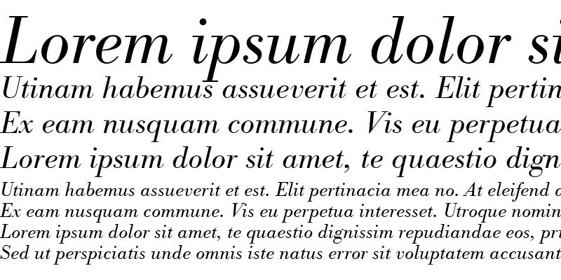 Sample of BodoniAntTLig Italic