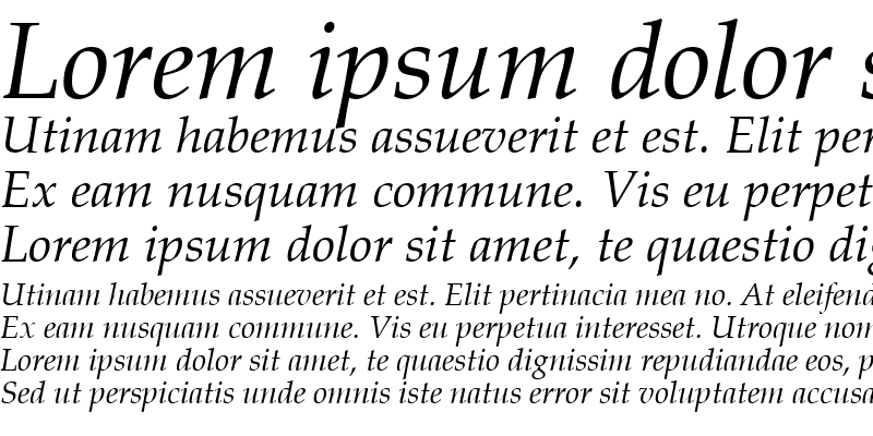 Sample of Book Antiqua Italic