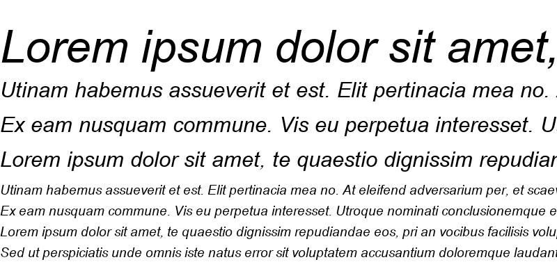 Sample of Browallia New Italic