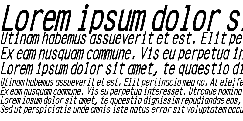 Sample of Clean Condensed Bold Italic