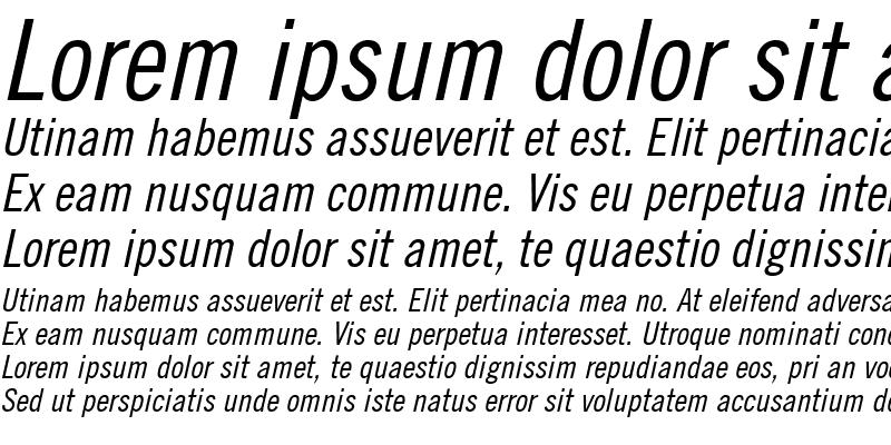Sample of Commerce Condensed SSi Condensed Italic
