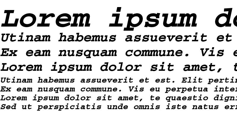 Sample of Courier CE Bold Oblique
