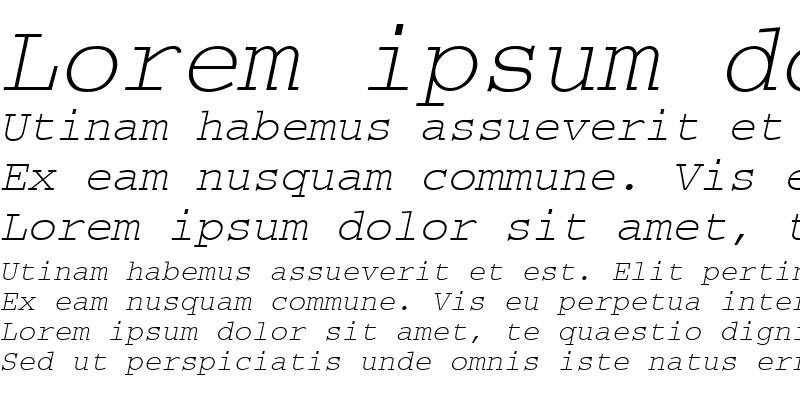 Sample of CourierMEE Italic