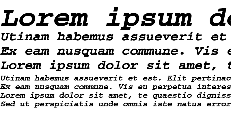 Sample of CourierPS Bold Oblique