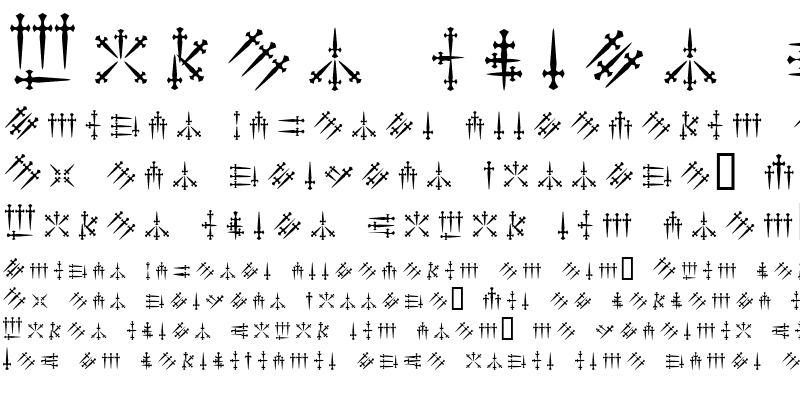 Sample of Daggers Alphabet Regular