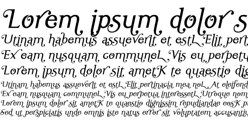 Sample of Ela Swashes SemiLight Italic