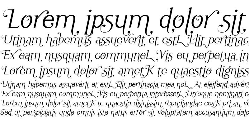 Sample of Ela Swashes XeLight Italic