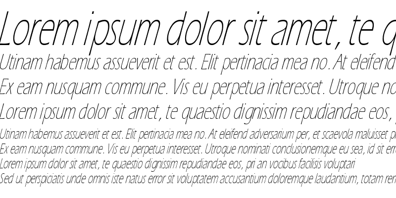 Sample of EricLite Italic