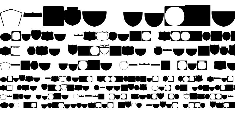 Sample of ESRI Shields Regular