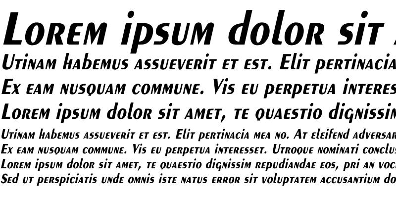 Sample of Exotic-Bold Th Italic Italic