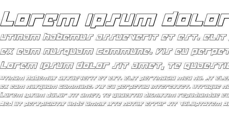 Sample of Flight Corps 3D Italic