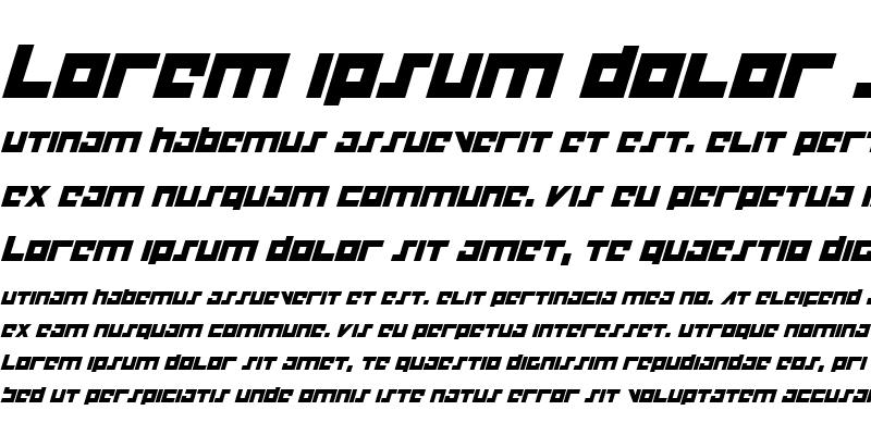 Sample of Flight Corps Italic