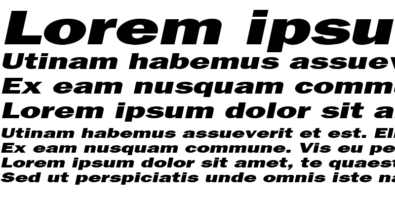 Sample of Francis Gothic Extended Italic