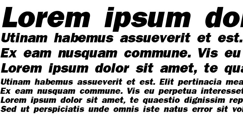 Sample of Franklin Gothic Black SSi Extra Bold Italic