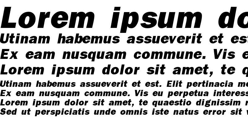 Sample of FranklinGothicBlackSSK Italic