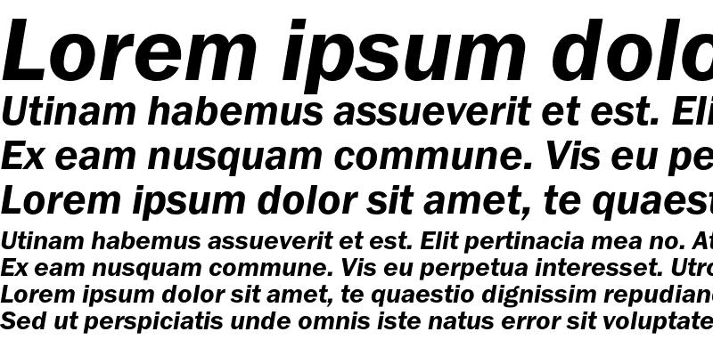 Sample of FranklinGothicDemiC Italic
