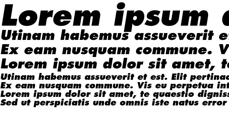 Sample of Futura LT ExtraBoldOblique