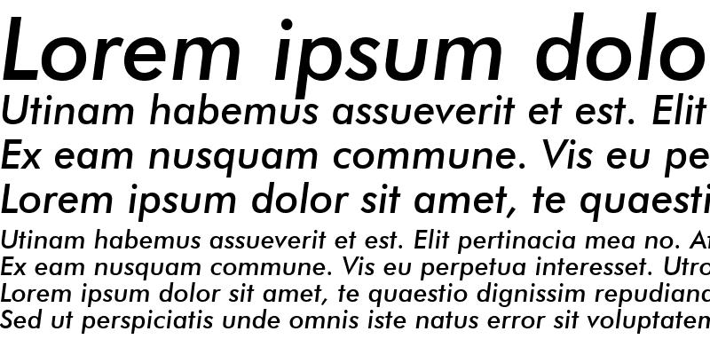 Sample of Futura Md BT Medium Italic