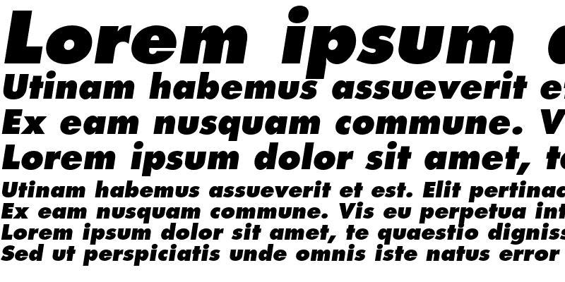 Sample of Futura Std Extra Bold Oblique