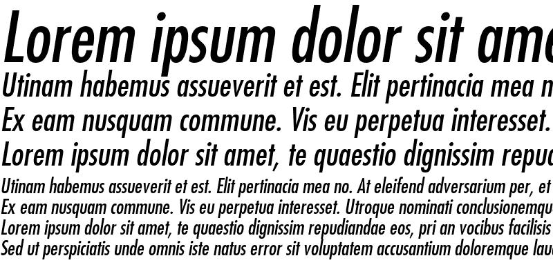 Sample of Futura Std Medium Condensed Oblique