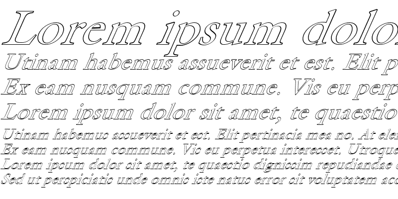 Sample of FZ ROMAN 25 HOLLOW ITALIC