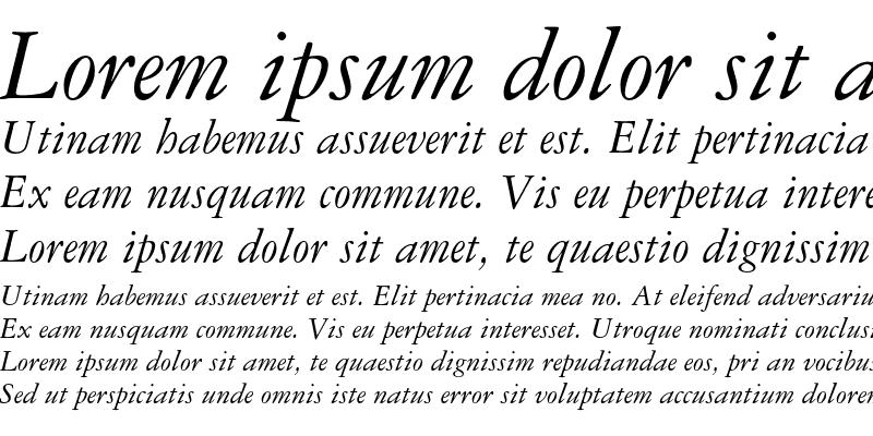 Sample of Garamond 3 Italic OsF