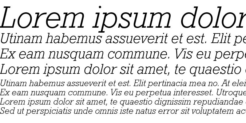 Sample of Geometric Slabserif 712 Light Italic