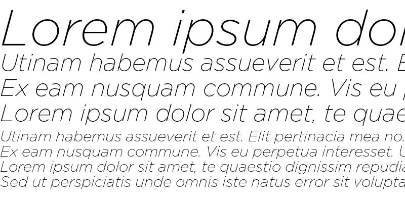 Sample of GothamExLight Italic