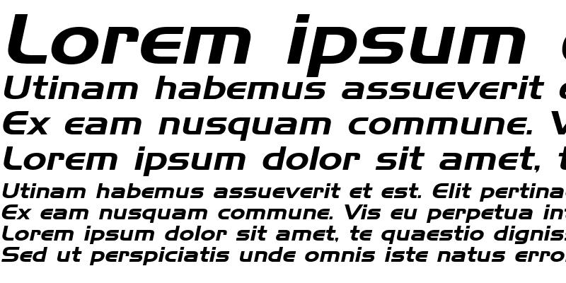 Sample of Hanzel Wide Italic