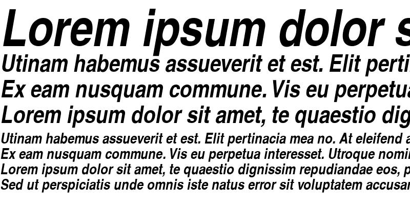 Sample of Helvetica-Narrow-BoldOblique Regular
