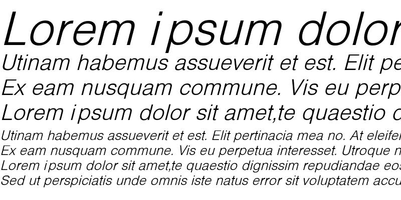 Sample of HelveticaObl-Li