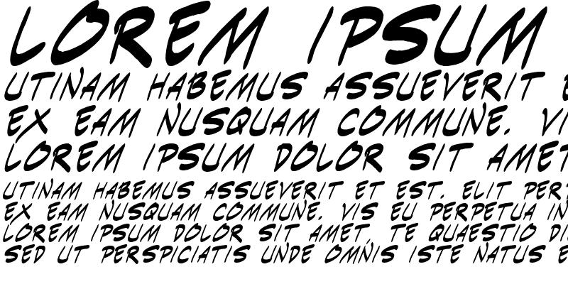 Sample of Indie Komiks Sketch Italic