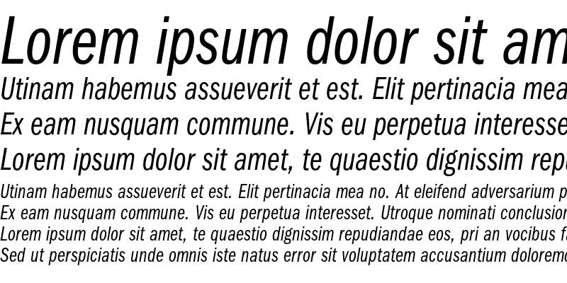 Sample of ITC Franklin Gothic LT Book Com Italic