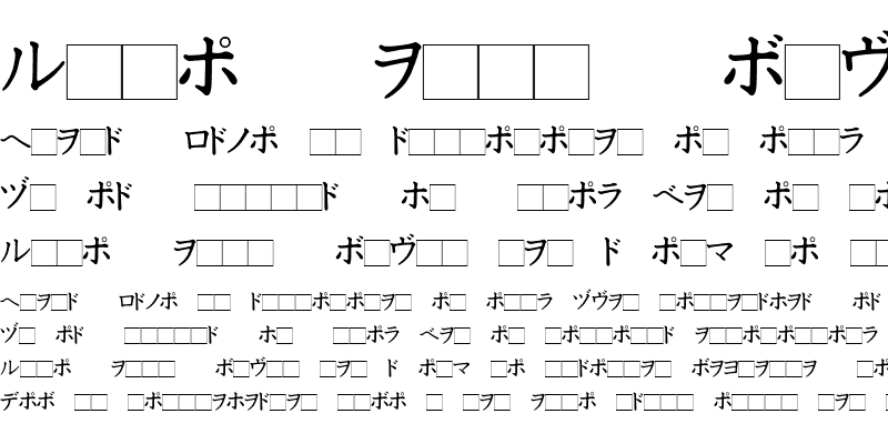 Sample of Katakana