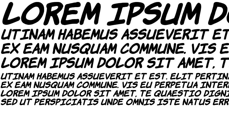 Sample of Komika Hand Bold Italic