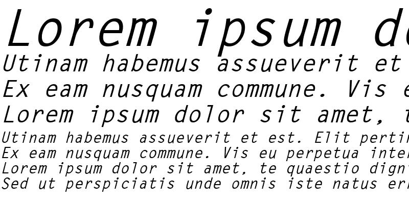 Sample of LetterGothic Bold Italic
