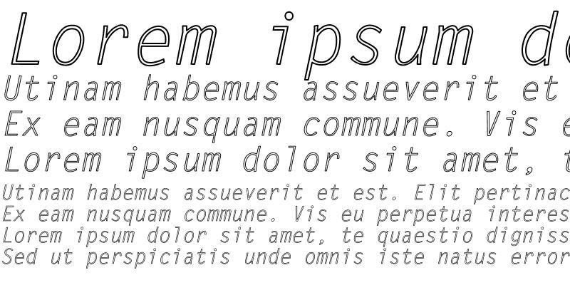 Sample of LetterGothic-Italic Hollow